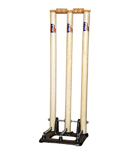 CW Cricket World Wooden International Standard Size Complete Stumps Set with Heavy Duty Spring Stand Base (Cream White)