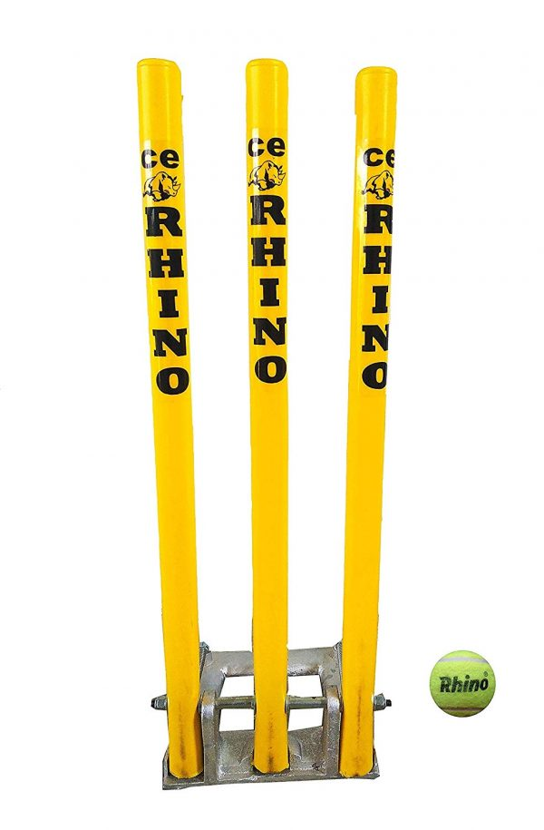 "CE Rhino Cricket Spring Back Cricket Stump Set-9""*8""-Metal And Plastic-Assorted Colours"